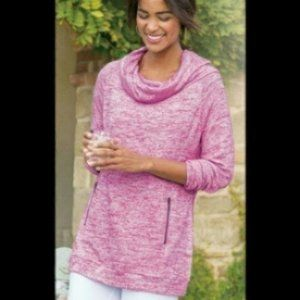 Soft Surroundings Cozy Pink Cowlneck Sweater